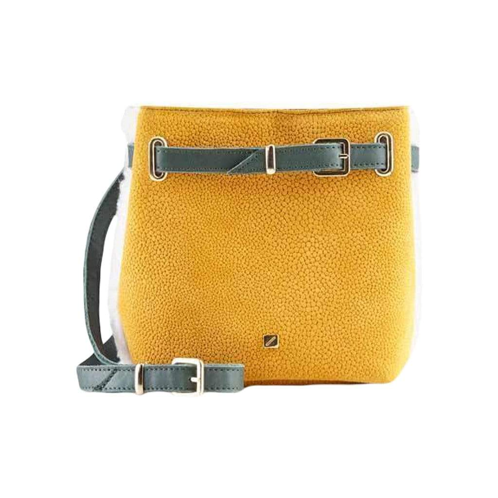 Yellow + White Shearling Belly Bag