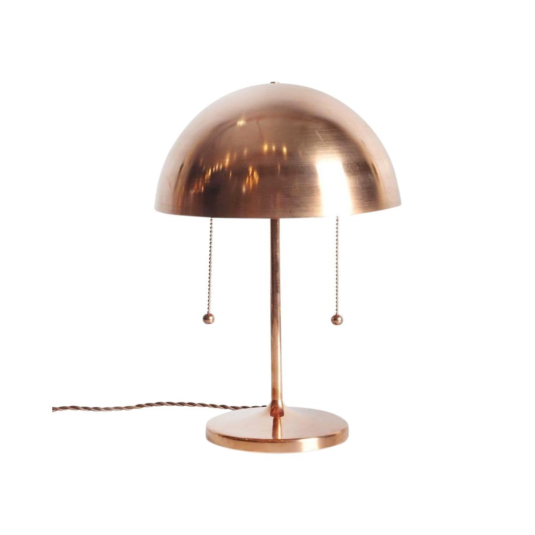 Michele Varian Table Copper Simplistic + Double Pull Chain Spun Table Lamp