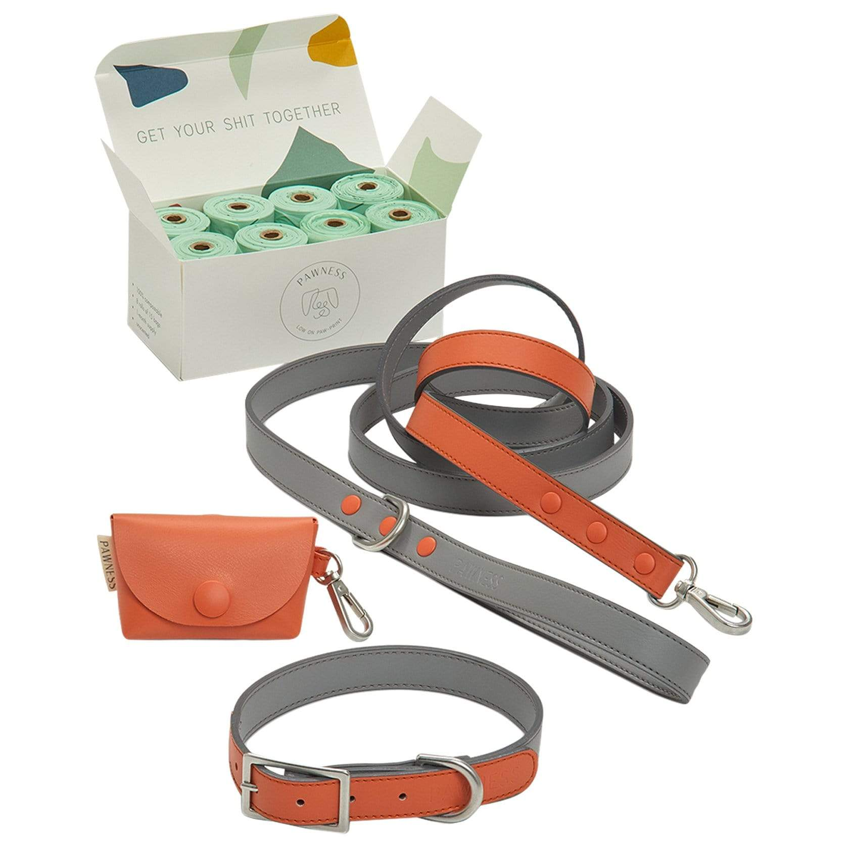 Pawness Collars + Harnesses Walk Kit - Coral