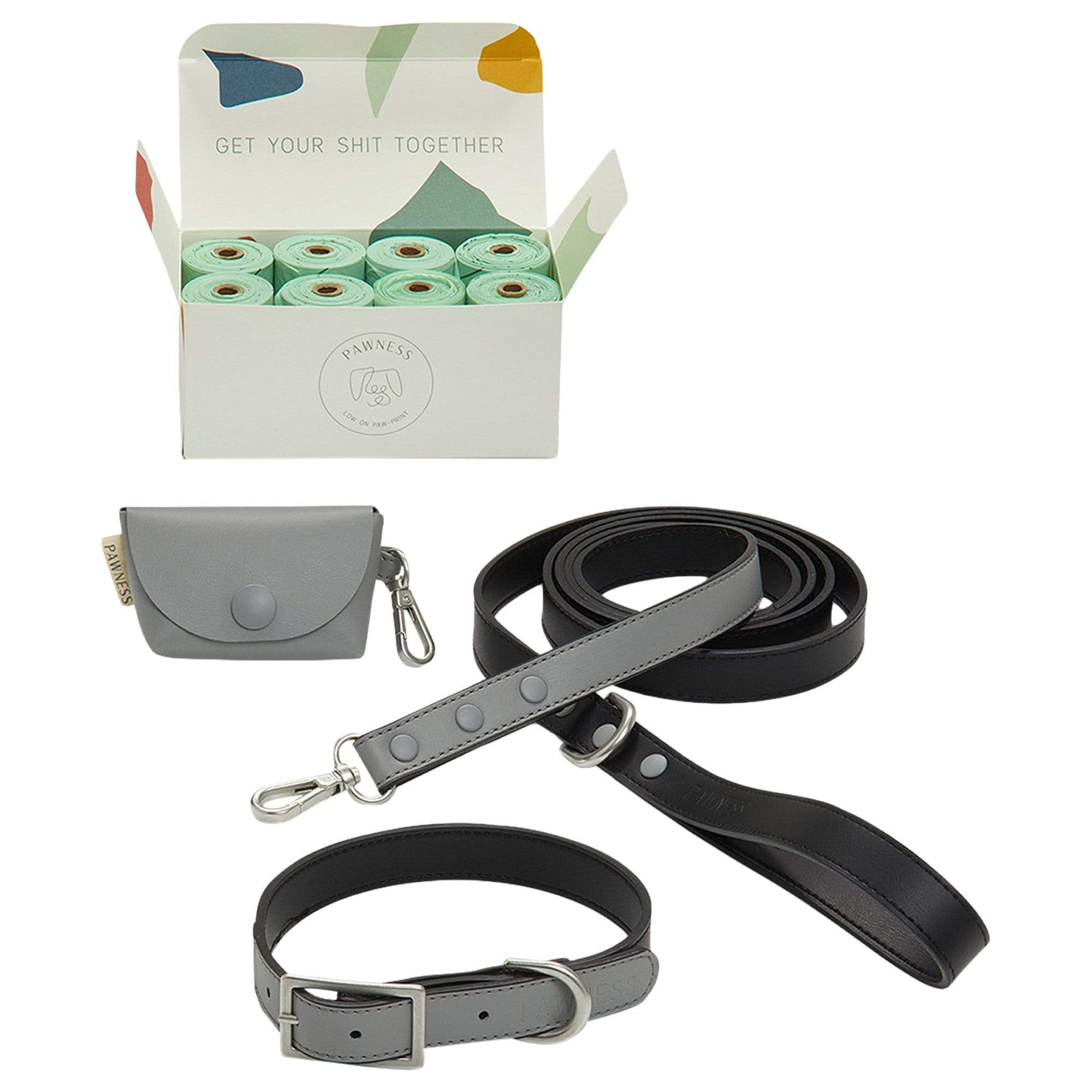 Pawness Collars + Harnesses Walk Kit - Grey