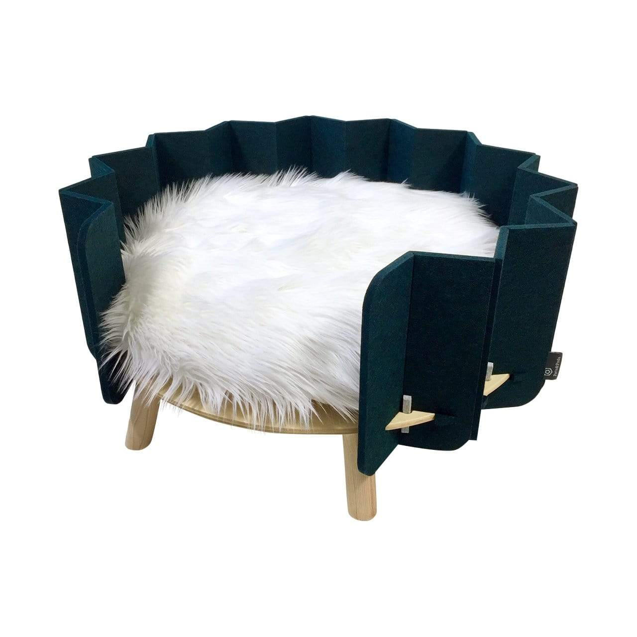 Pets&Pods Beds + Mats Green / White Faux Fur Cushion Biscuit Pet Bed