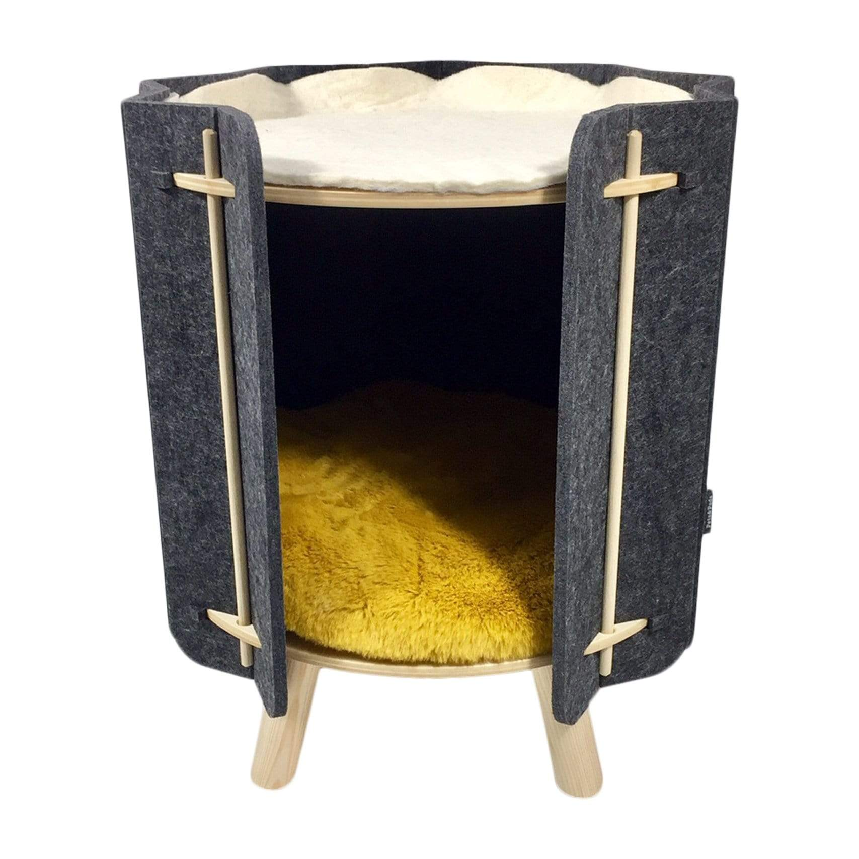 Pets&Pods Beds + Mats Grey / Yellow Muffin Pet Bed
