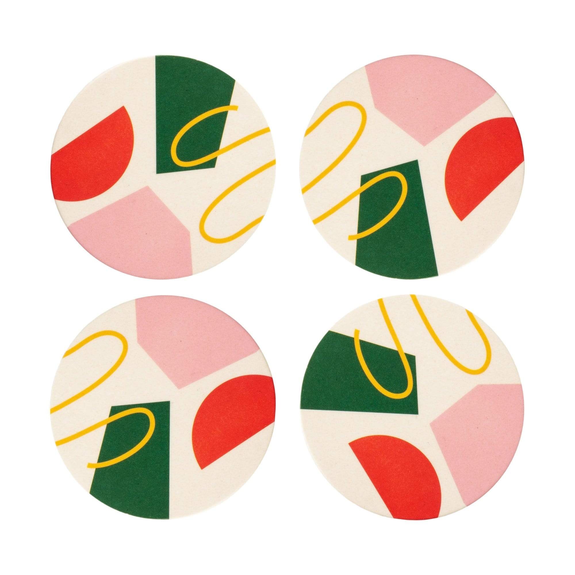 Bamboo Coasters in Pink Abstract Set