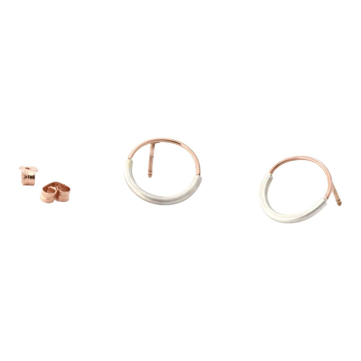 Simplicated Jewelry Stud Earrings Rose Gold + Silver Asymmetric Geometric Hoop Earring