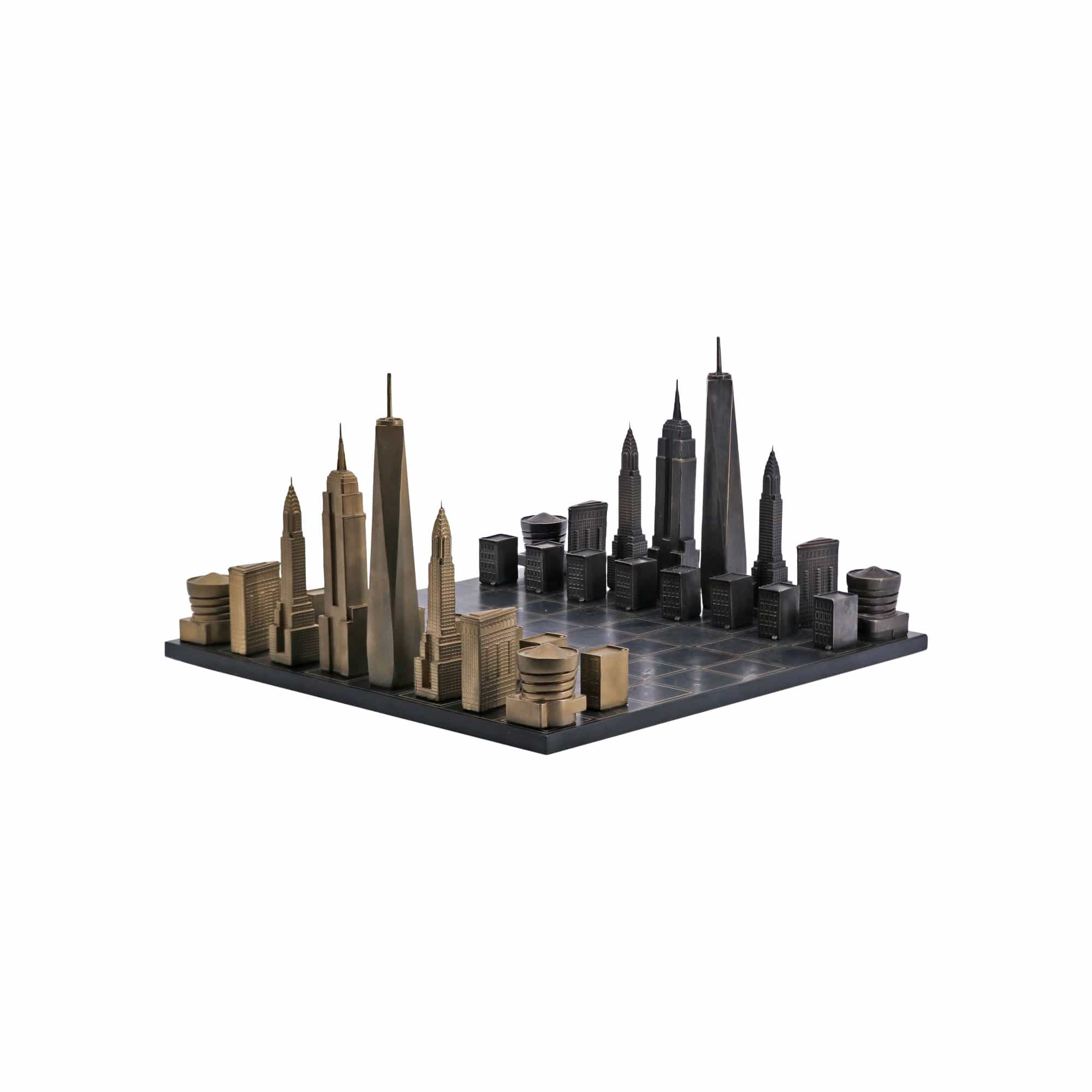 Skyline Chess Games Luxury Solid Bronze New York Edition