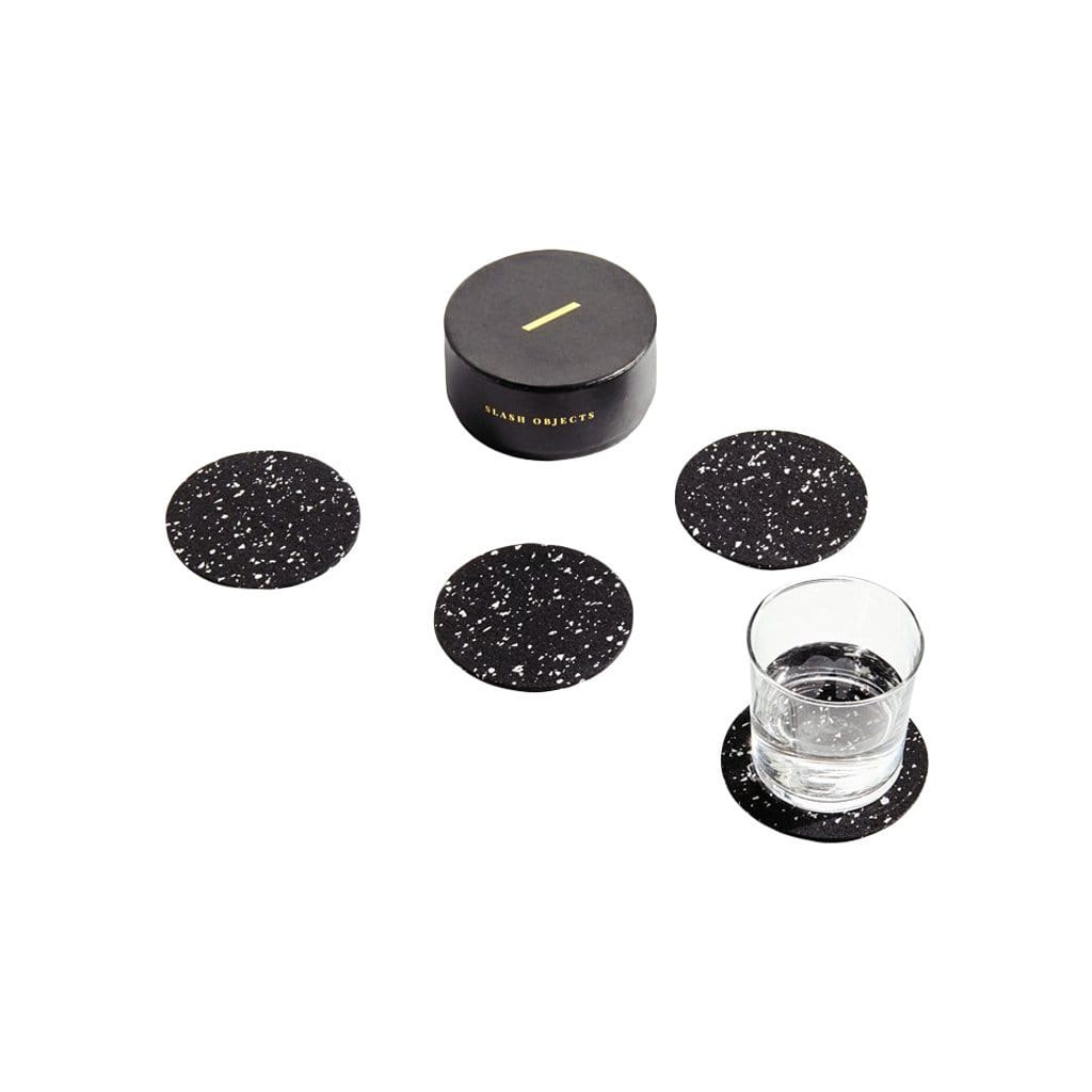 Slash Objects Round Rubber Speckled Black Coaster Set