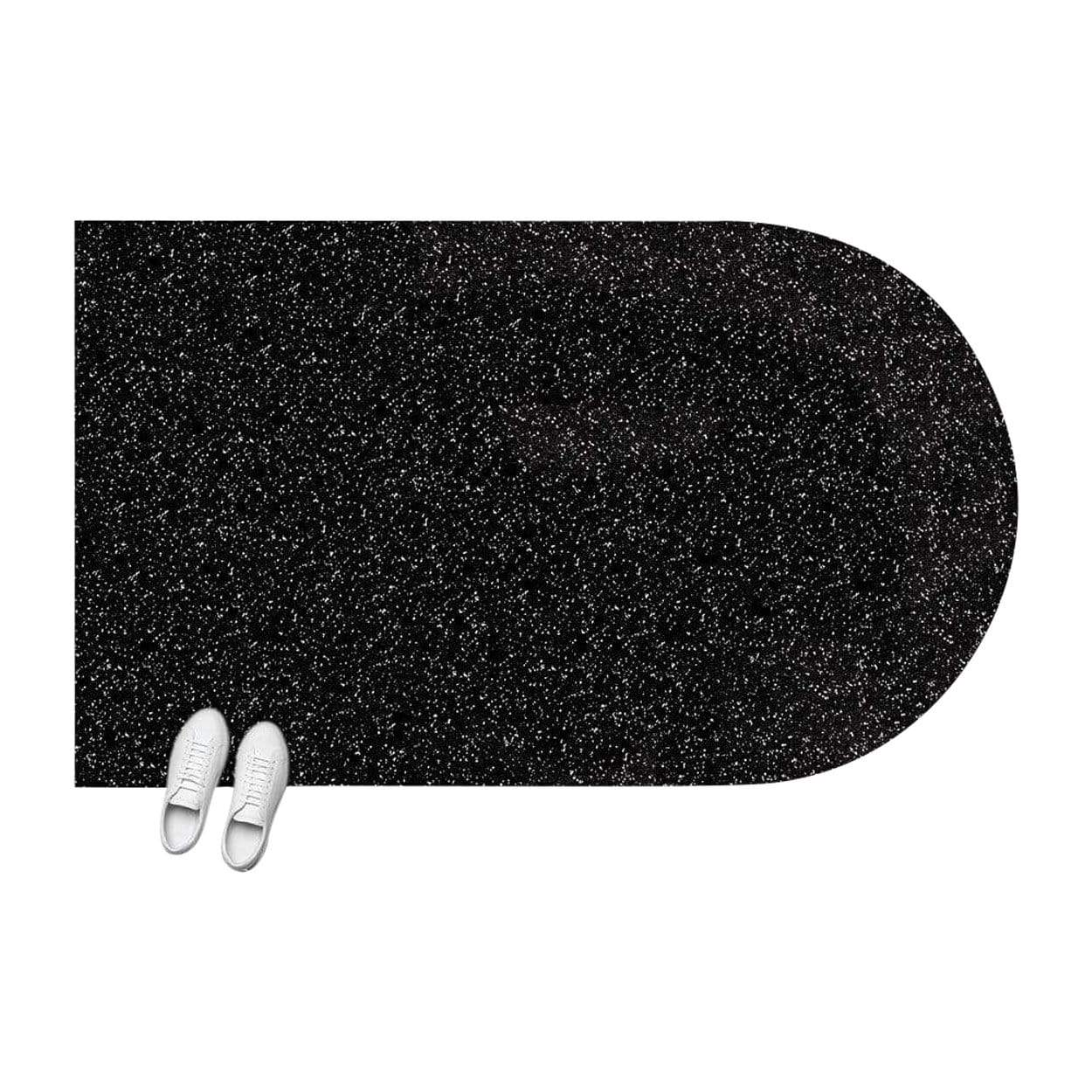 Slash Objects Rugs + Flooring Speckled Black Half Capsule Floor Mat