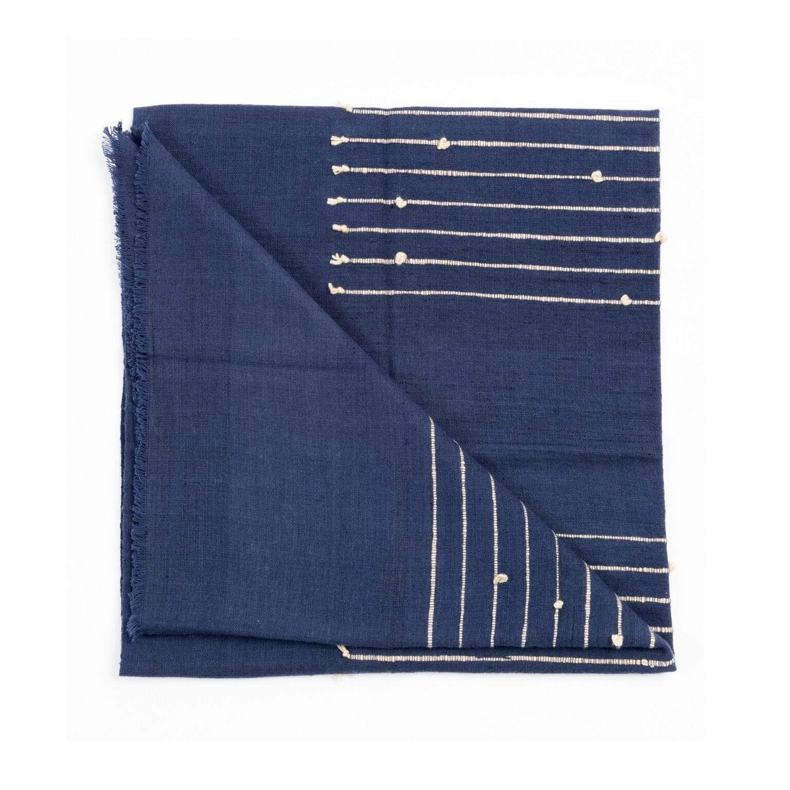 Studio Variously Cushions + Throws Indigo Rosewood Merino and Cotton Throw