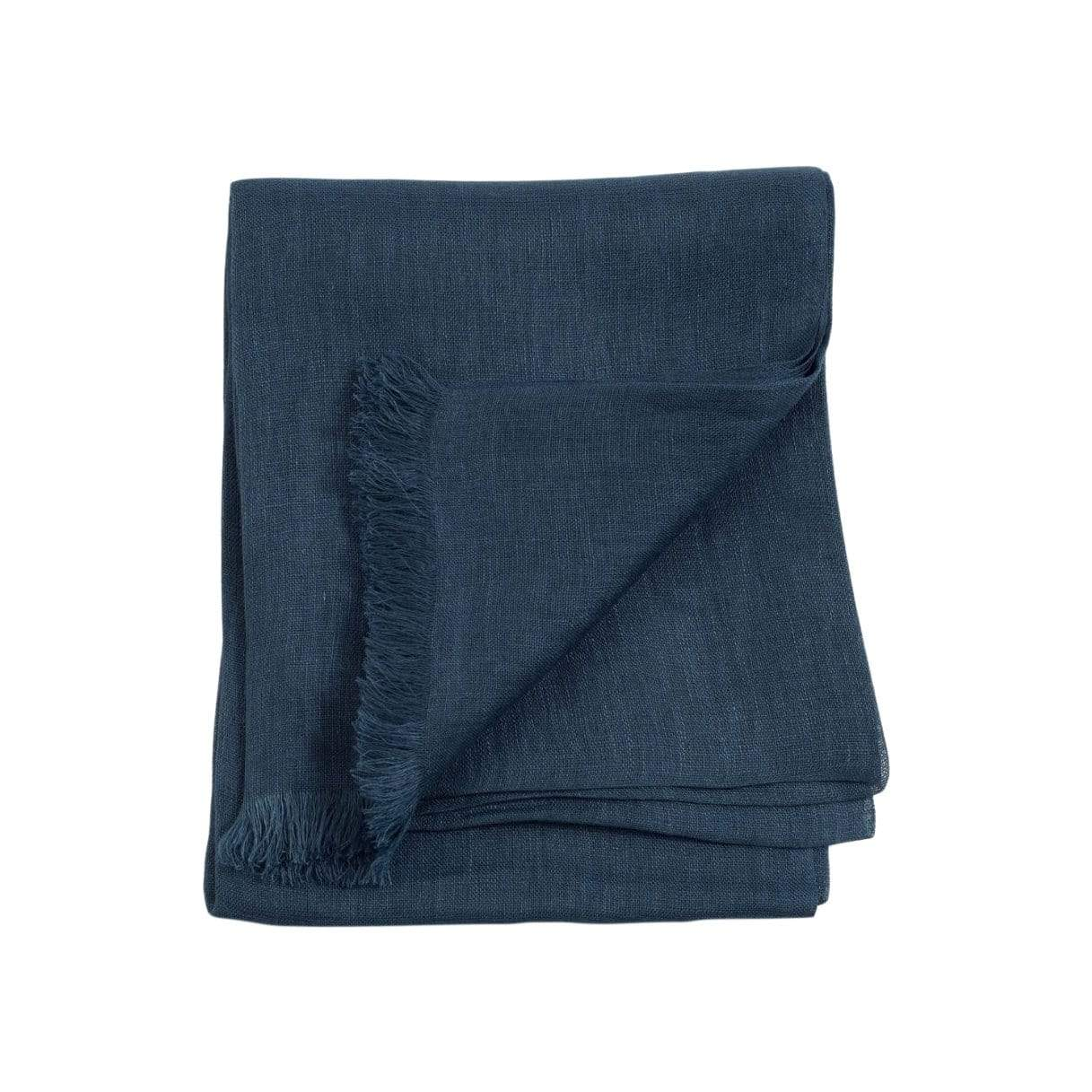 Studio Variously Hats + Scarves Midnight Blue Handwoven Linen Scarf