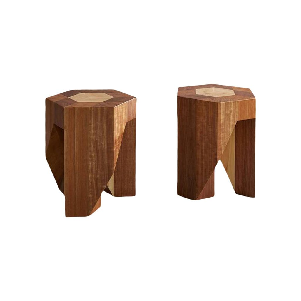 Yosegi Japanese-Style Multi-Functional Inlaid Stools