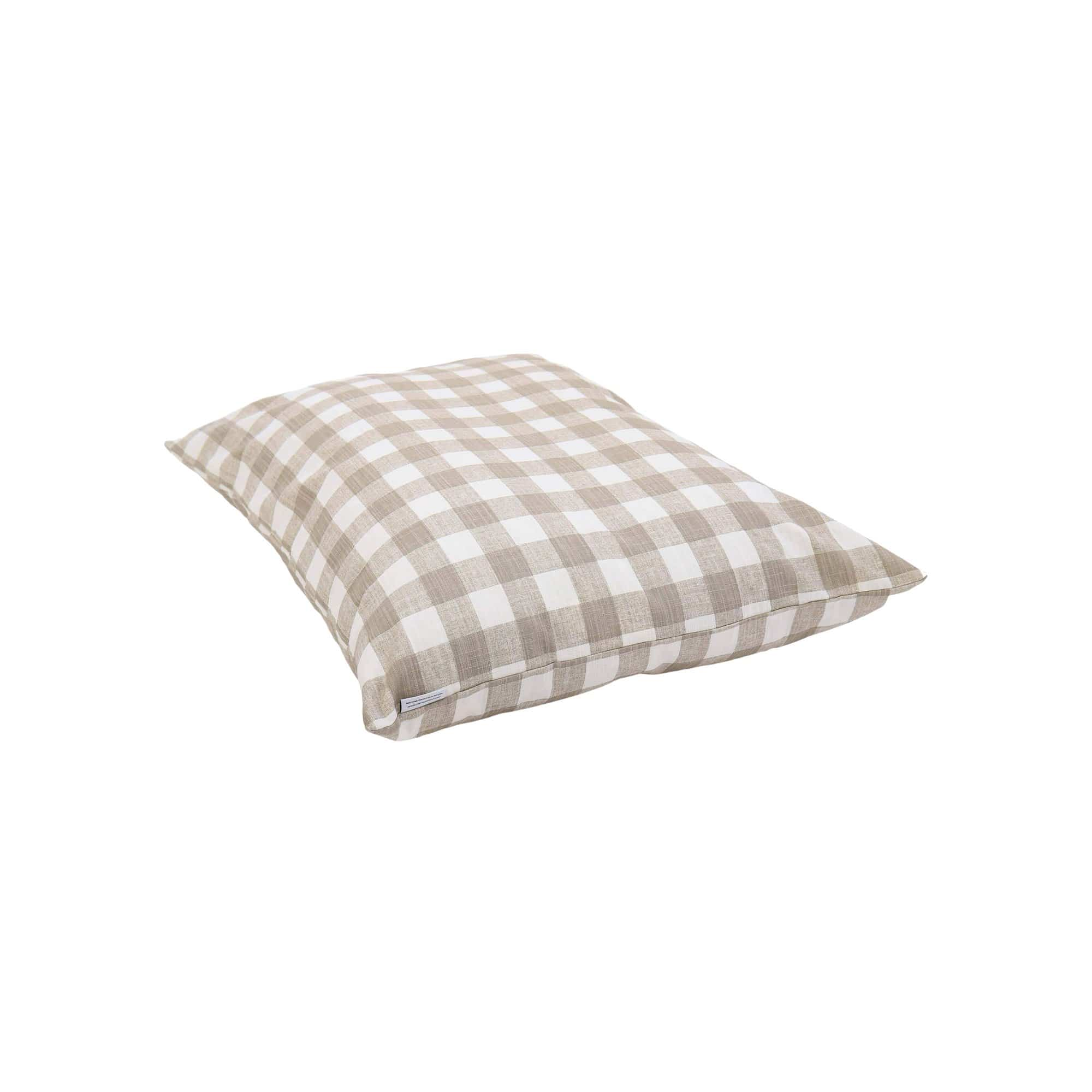 Warm Stone Gingham Check Dog Bed