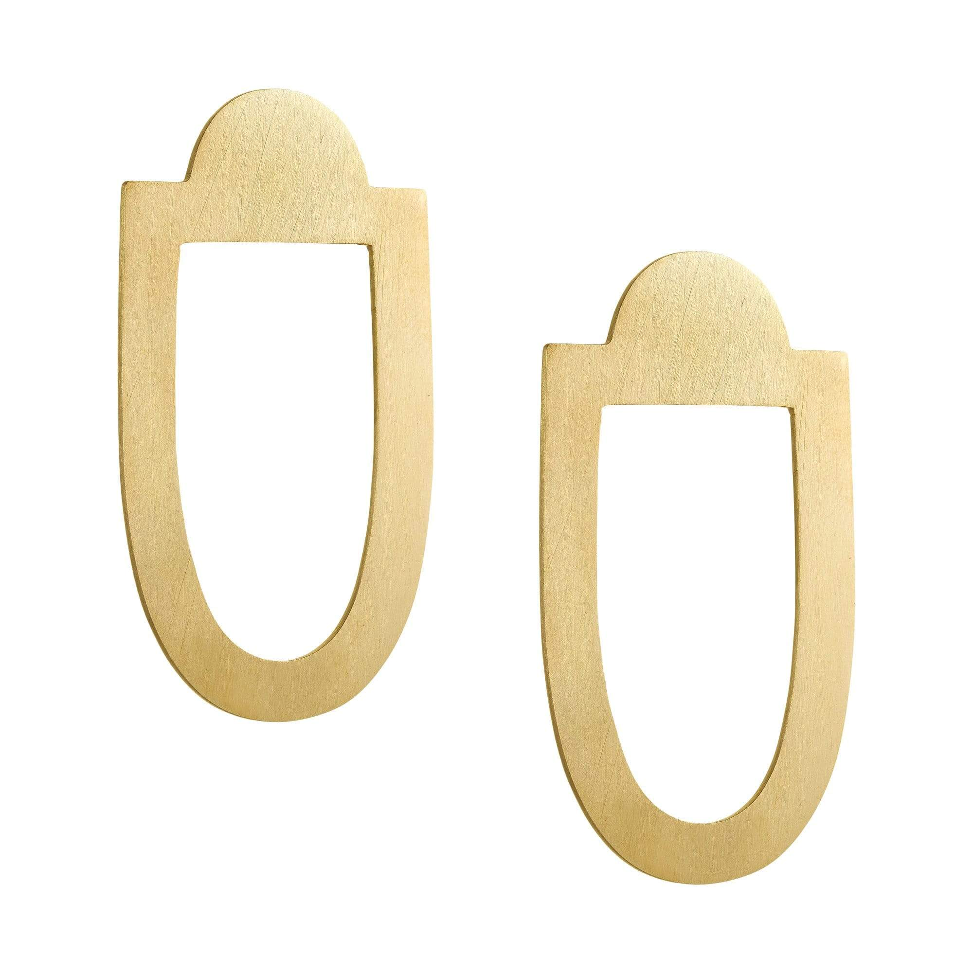 Art Deco Geometric Brass Earrings