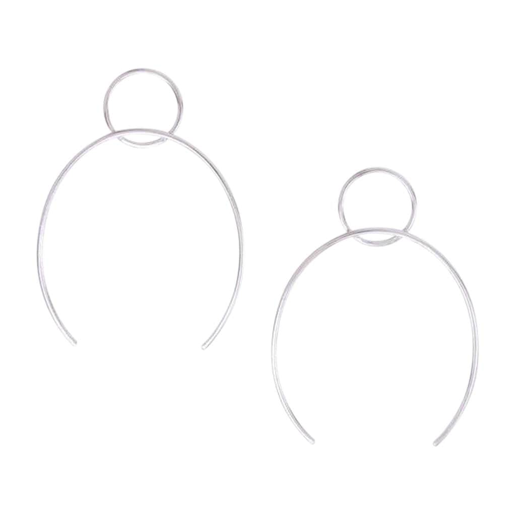 Circle + Open Oval Silver Hoops