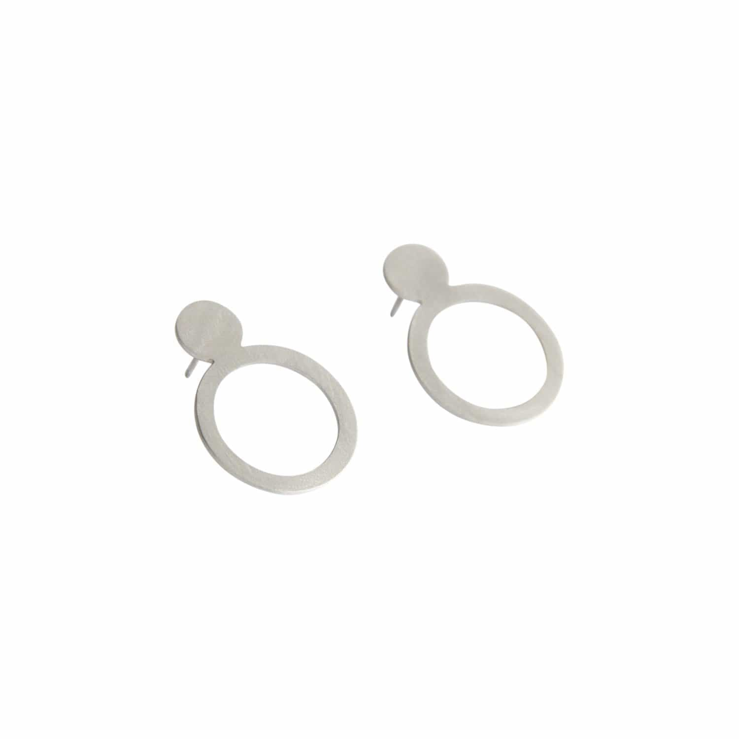 tothemetal Earrings Double Circle Silver Post Earrings