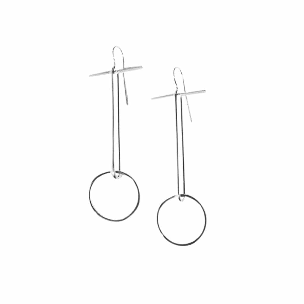tothemetal Earrings Long Line Oval + Circle Silver Earrings