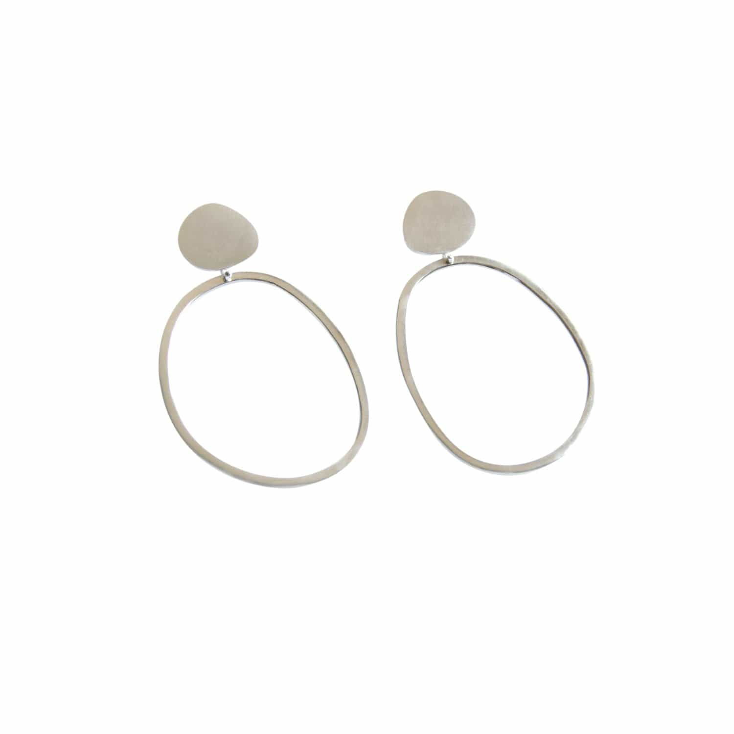 tothemetal Earrings Pebble + Abstract Silver Hoop Earrings