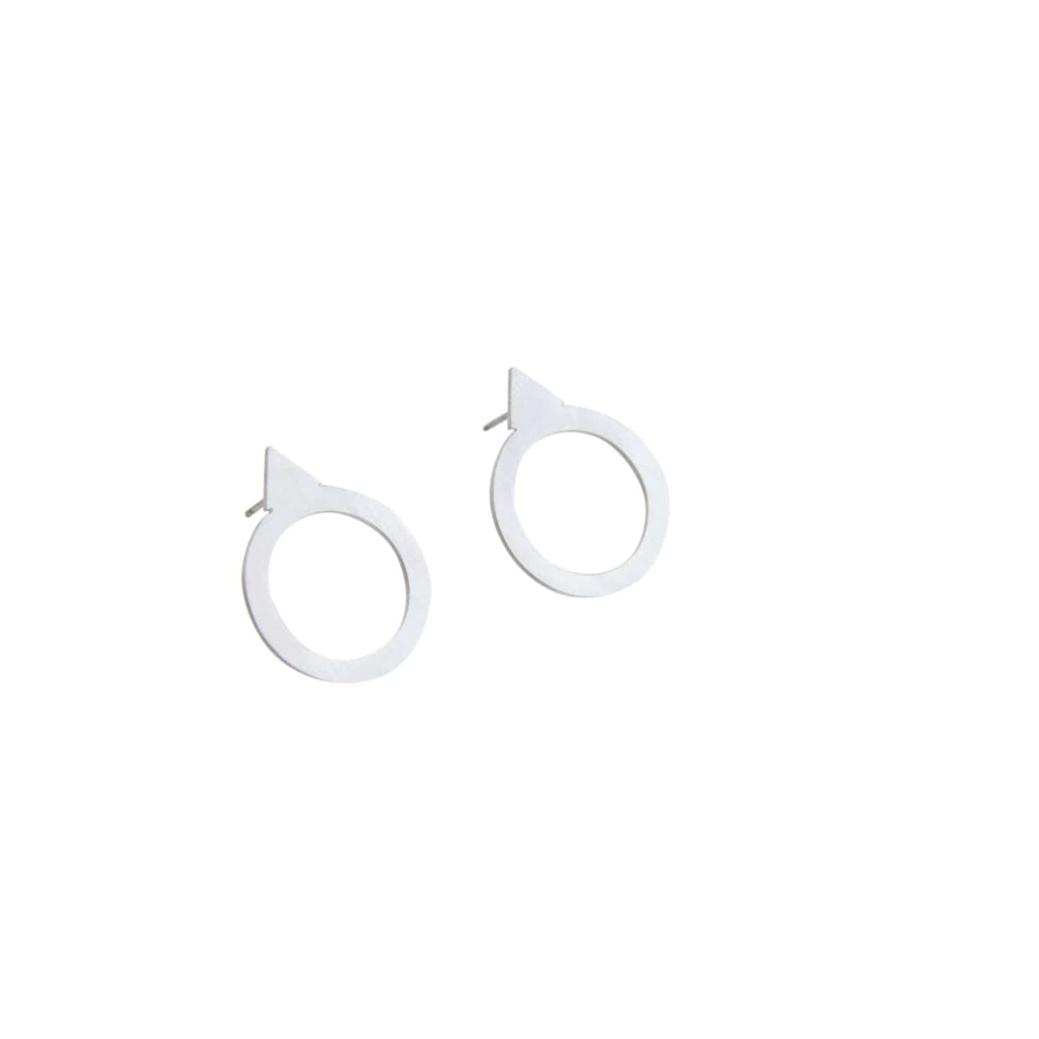 tothemetal jewelry Triangle + Cutout Circle Silver Post Earrings
