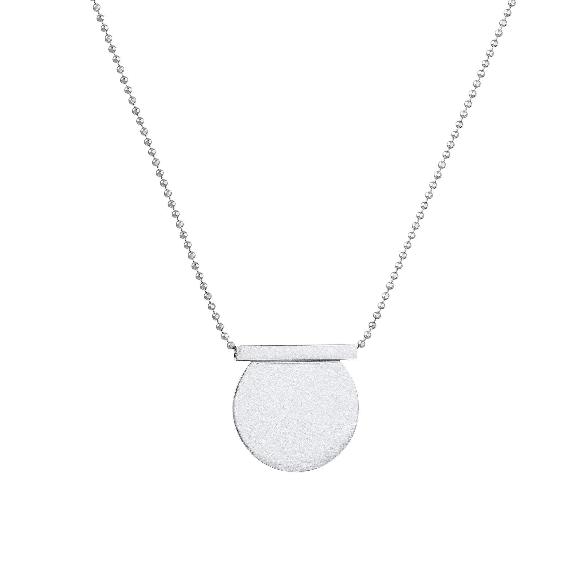tothemetal Necklaces Cut Circle + Line Silver Necklace