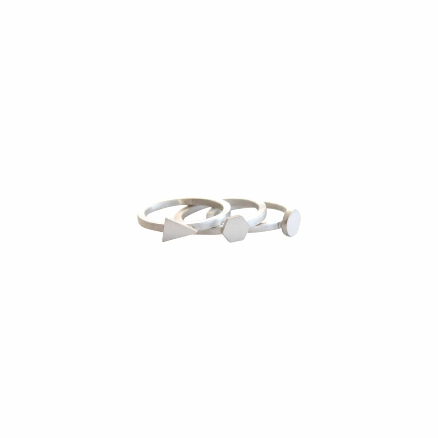 tothemetal Rings Geometric Stacking Silver Rings