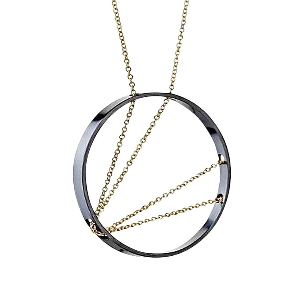 Arc Oxidized Silver + Gold Necklace