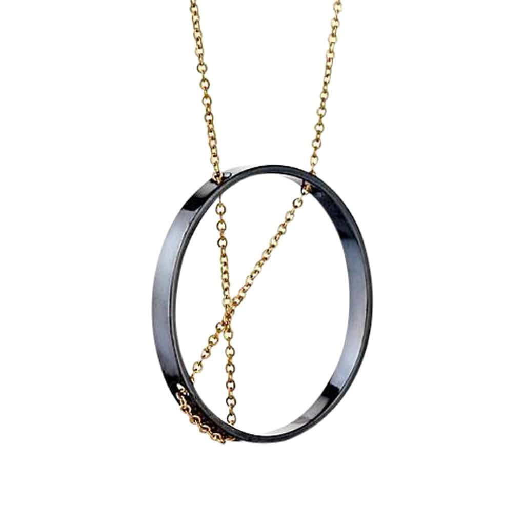 Inner Circle Oxidized Silver + Gold Necklace