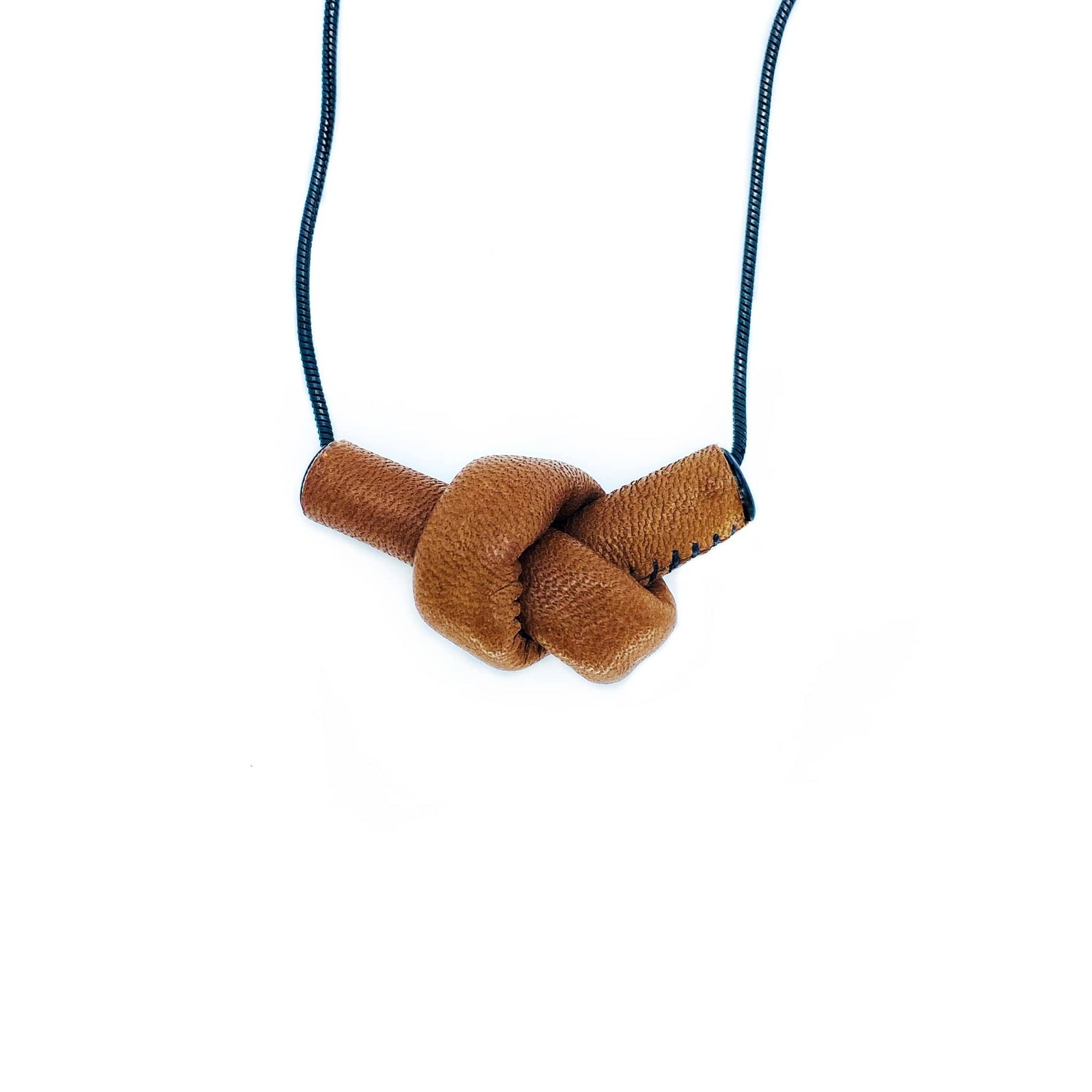 WAIWAI necklace N009 leather knot brown