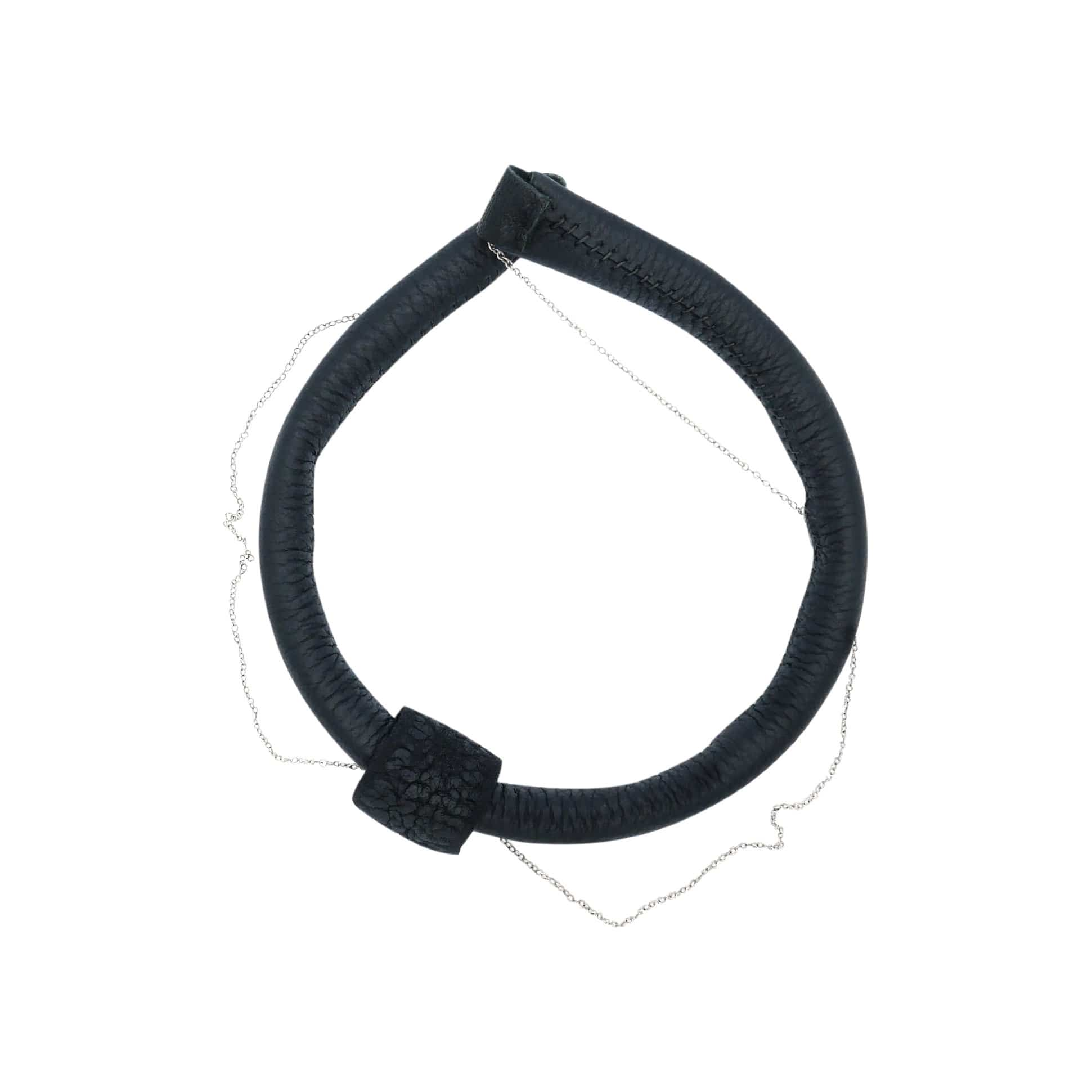 WAIWAI Necklaces C010 Leather Choker with Silver Chain