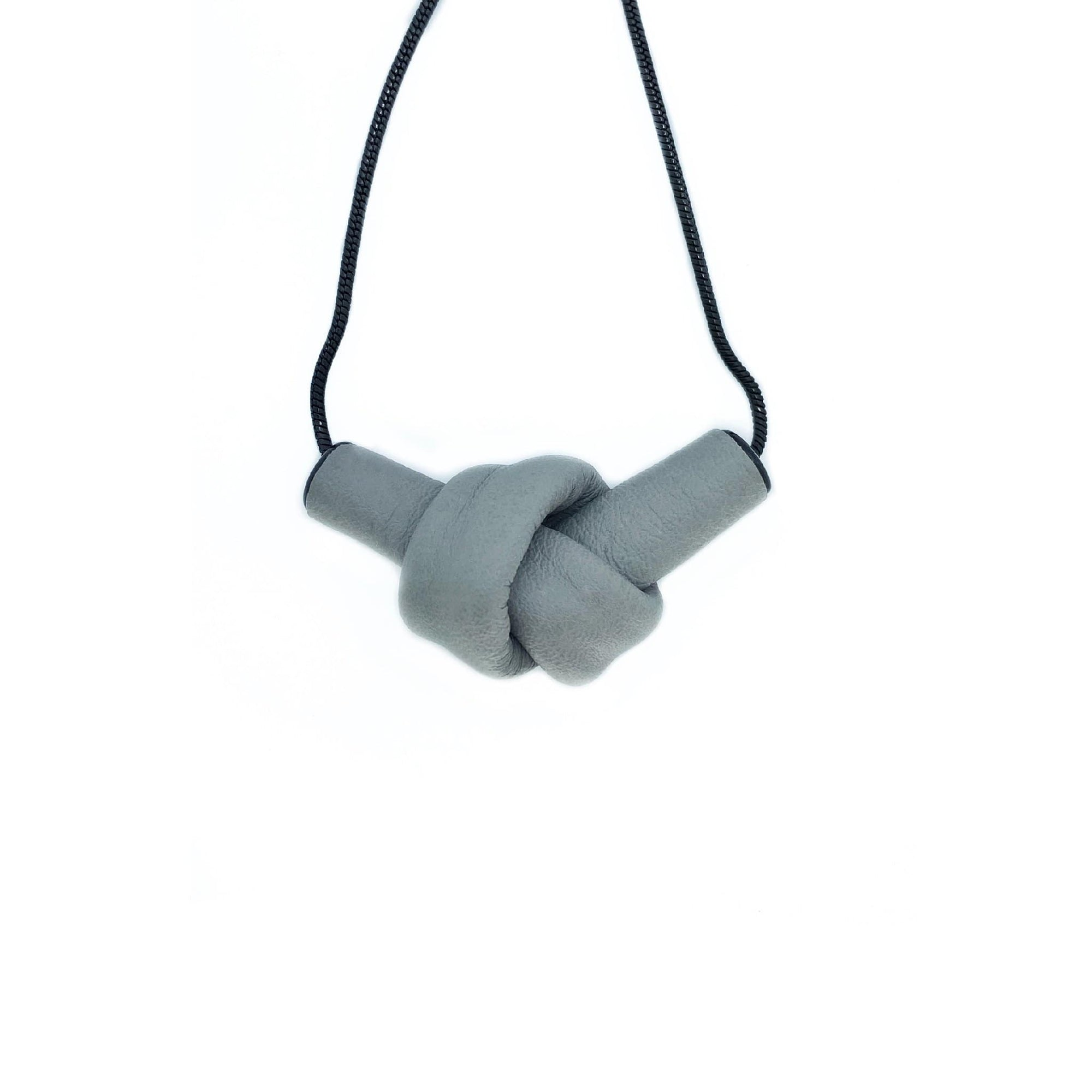 WAIWAI Necklaces N009 leather knot grey