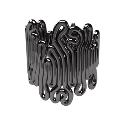 Zimarty Rings Large / Black Rhodium Pl. Squiggle 3D-Printed Ring