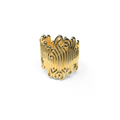 Zimarty Rings Large / Gold Pl. Squiggle 3D-Printed Ring
