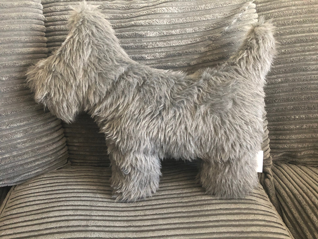 Fluffy Grey Dog shaped Cushion
