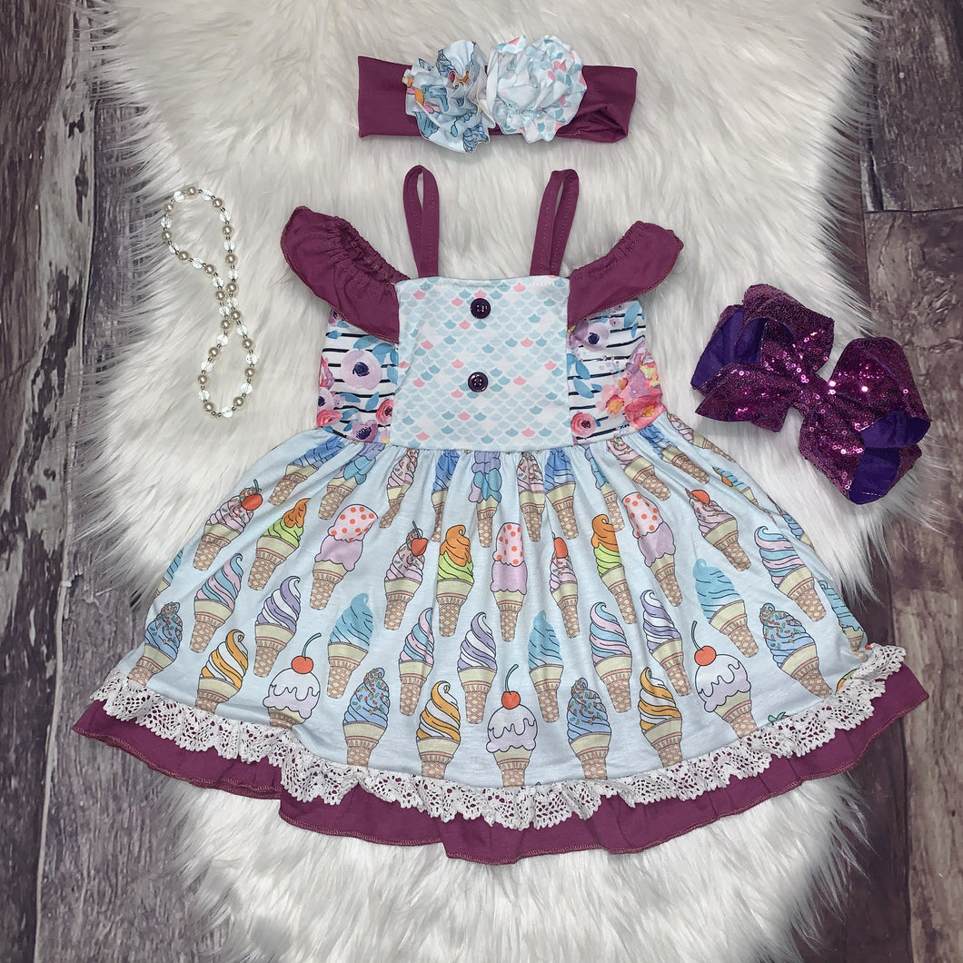 I Scream Ice Cream Ruffle Dress