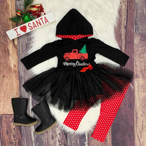 Merry Christmas Hooded Tulle Tunic Set