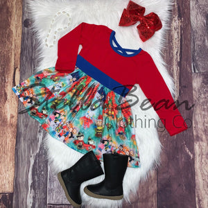 Charlie Brown & Snoopy Printed Blue & Red Dress