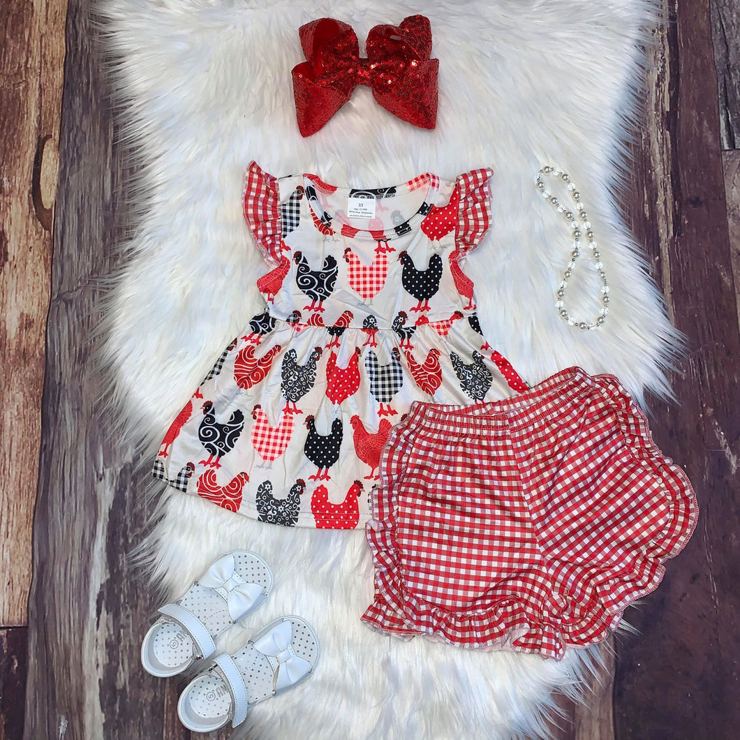 Chicken Print Flutter Sleeve Top with Red Check Shorts
