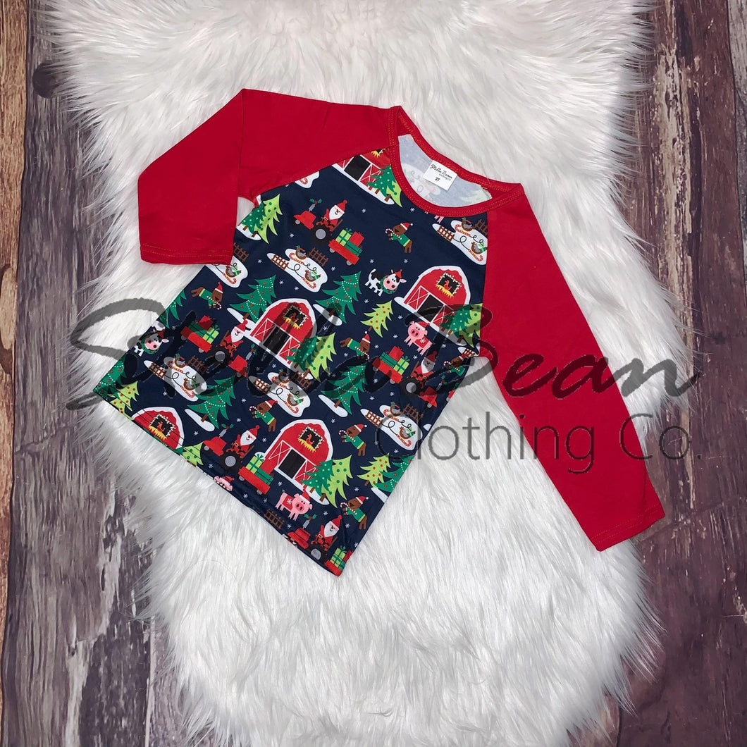 Christmas on the Farm Printed Raglan