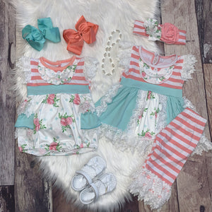 Coral and Mint Lace Ruffle Bubble