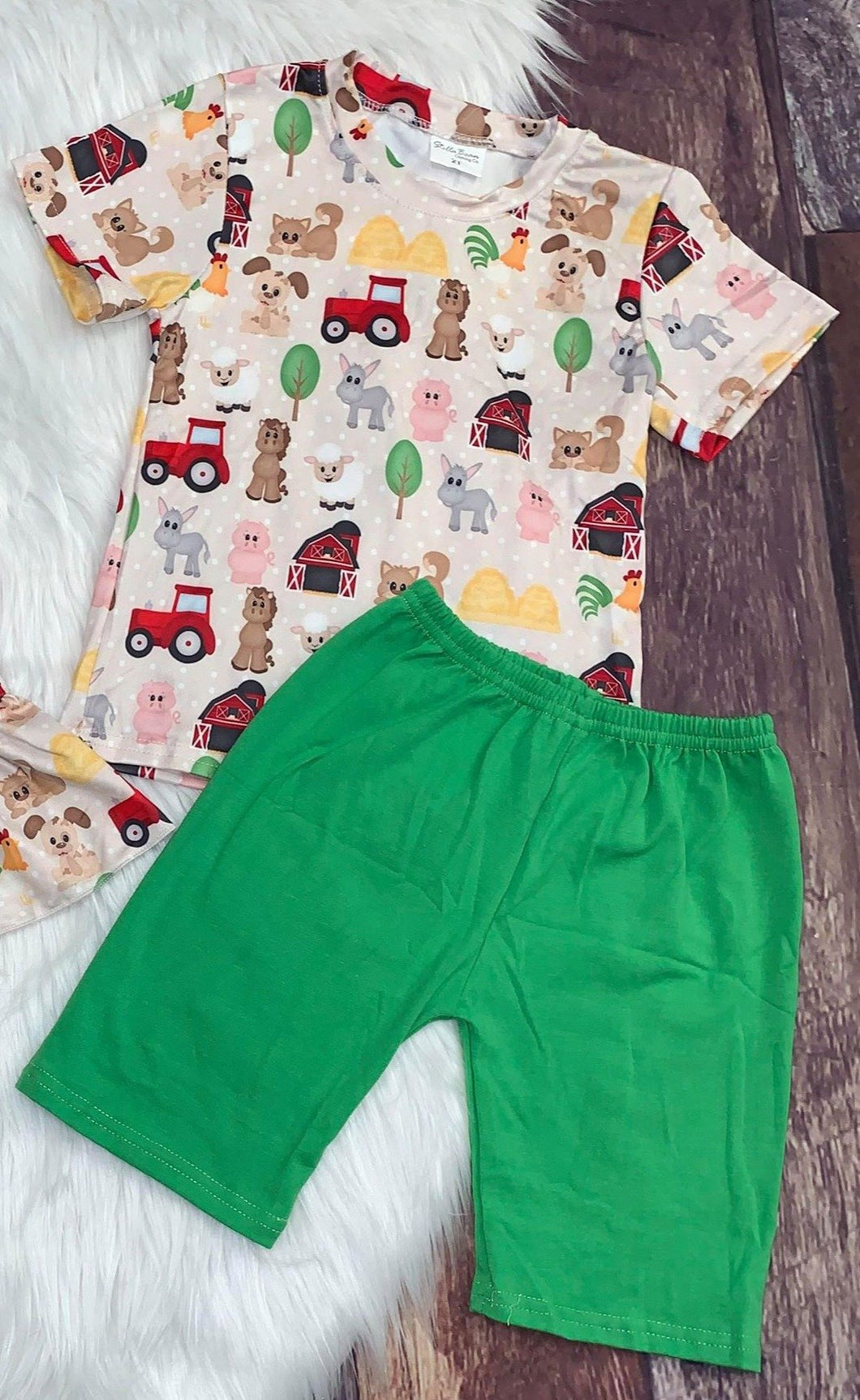 Farm Printed Boy's Set with Green Shorts