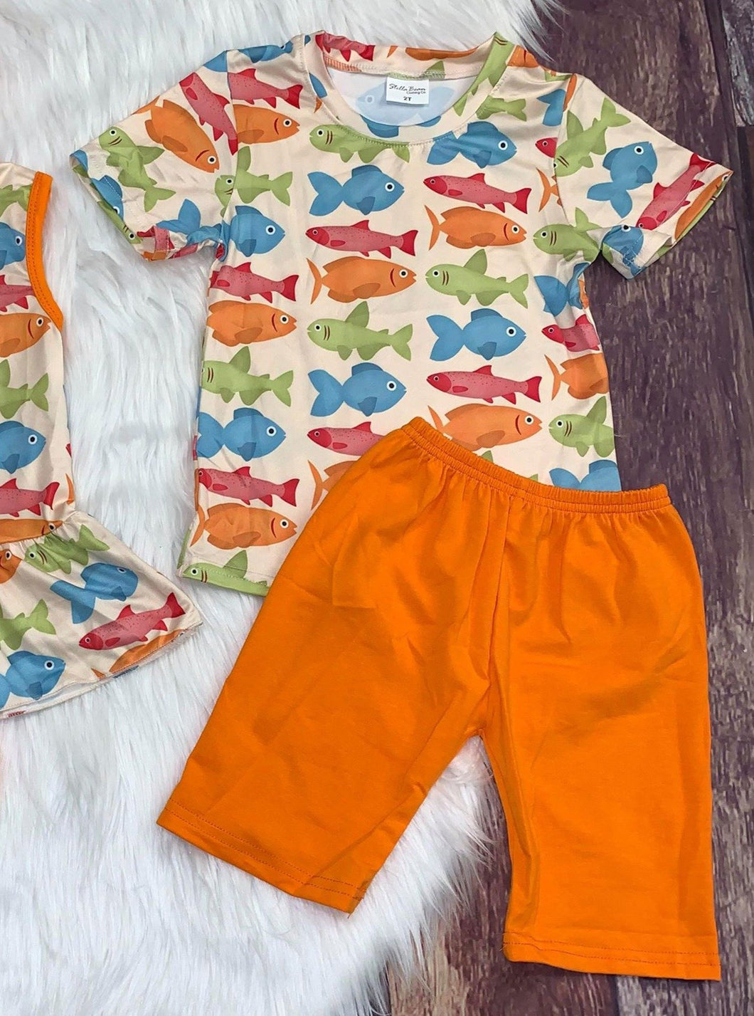 Colorful Fish Printed Boy's Set with Orange Shorts