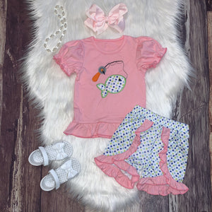 Fishing Embroidered Girl's Short Set