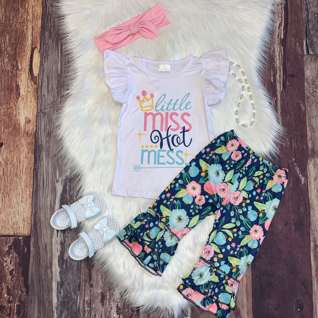 Little Miss Hot Mess Tee and Floral Print Capri