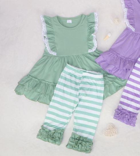 Moss Green Cotton Ruffle Tunic Set