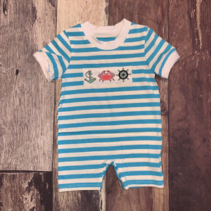 Nautical Embroidery Turquoise and Coral Boy's Romper
