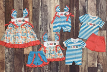 Load image into Gallery viewer, Nautical Embroidery Turquoise and Coral Boy's Romper