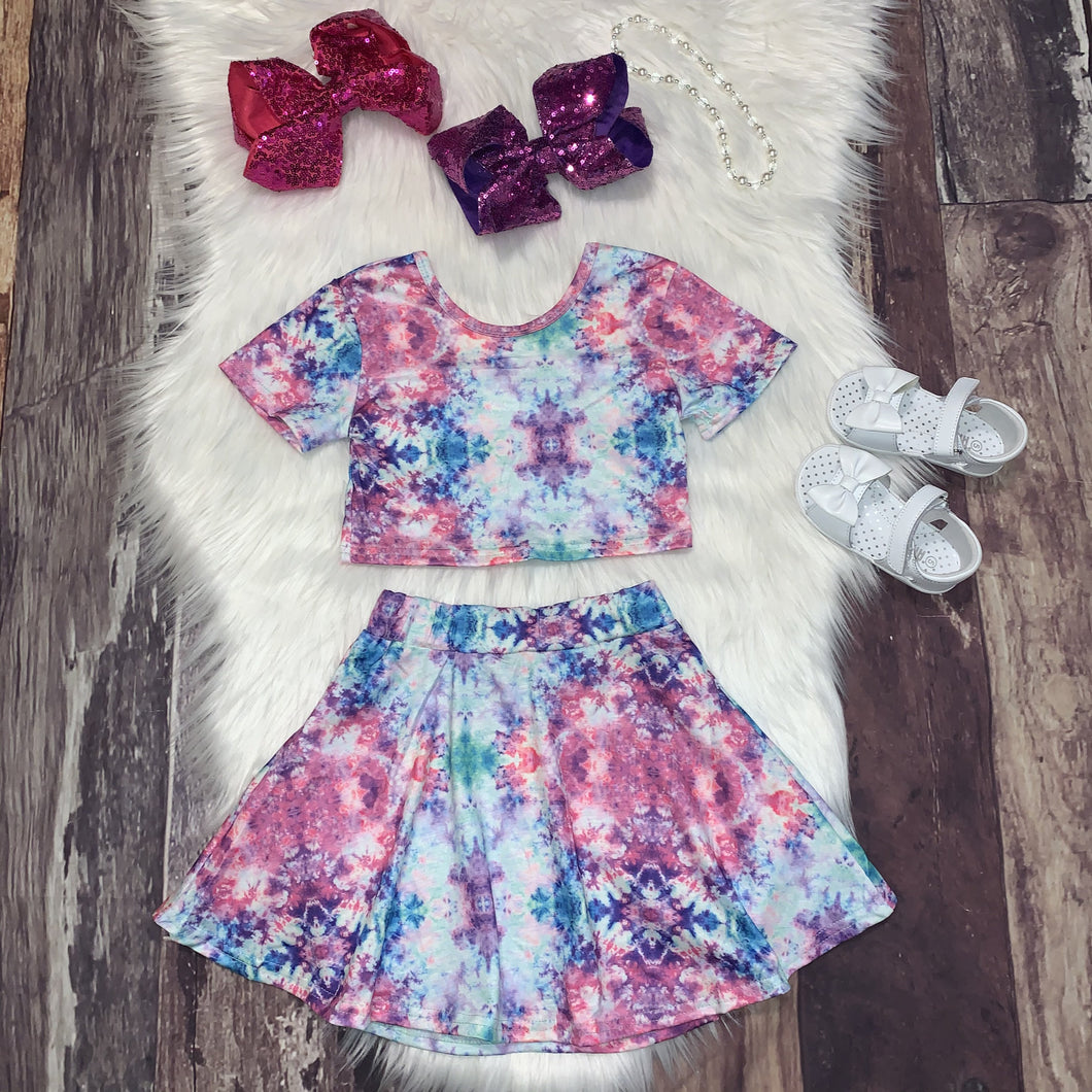 Vibrant Tie Dye Crop Top and Skirt Set