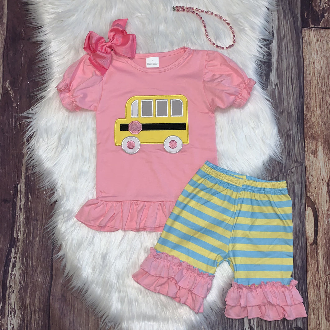 Embroidered Bus Back to School Short Set