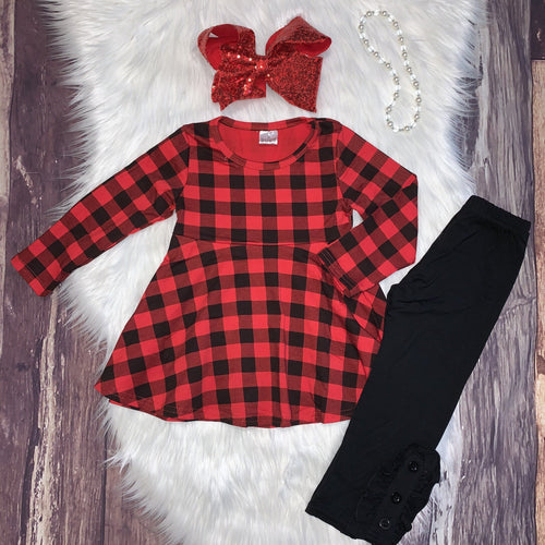 Buffalo Plaid Tunic and Black Legging Set