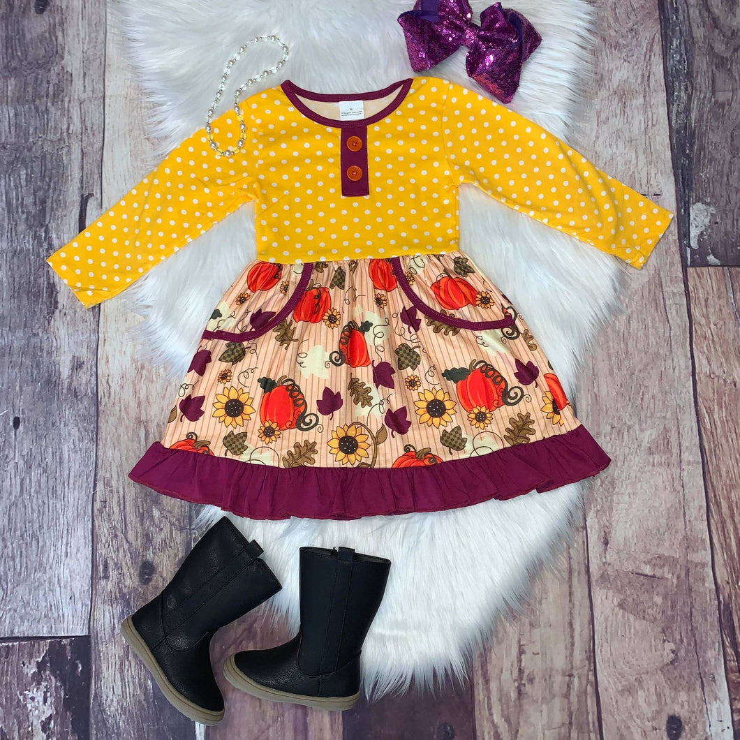 Yellow Fall Leaves & Pumpkins Pocket Dress