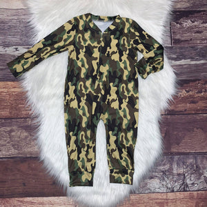 Zip-Up Romper Green Camo