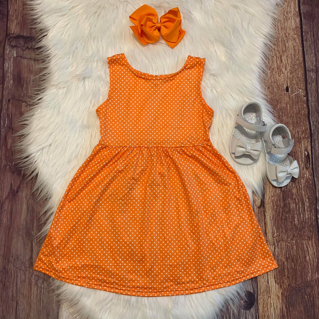 Bright Orange Tiny Polka Sleeveless Dress